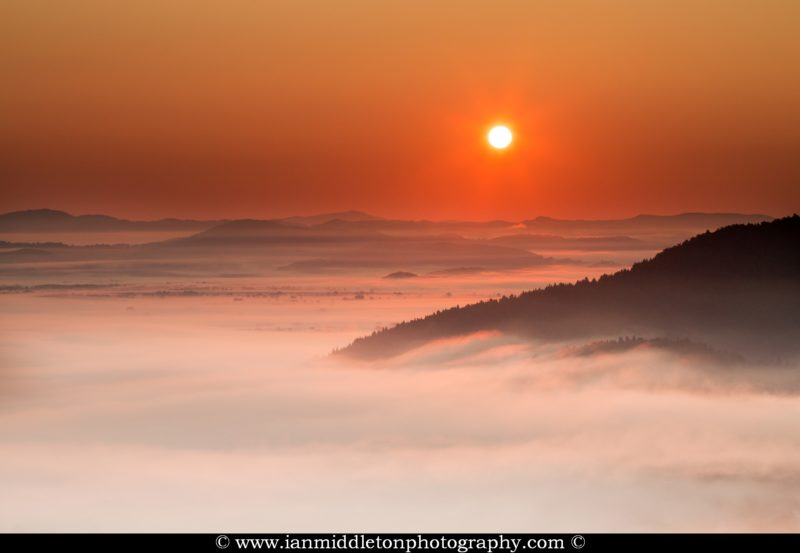 sunrise over the mist on the Ljubljana Moors (Ljubljansko Barje), a large area of wetland 160 square kilometres in size.