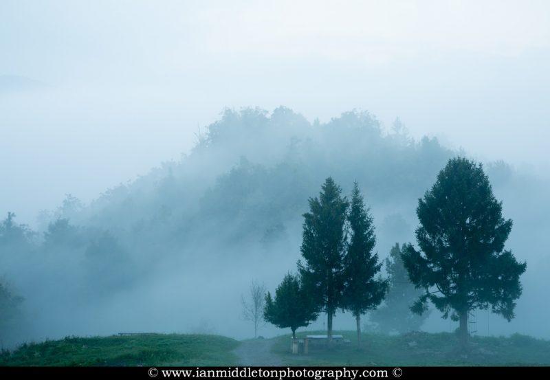 Misty morning at the church of Saint Anna (Sveta Ana) on the Ljubljansko Barje (Ljubljana Moors).