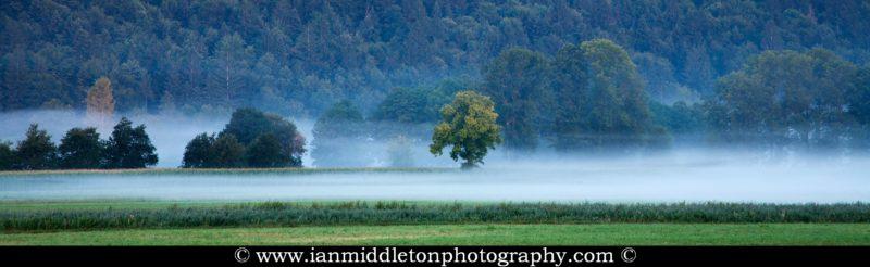Morning mist on the Ljubljana Marshland (Ljubljansko Barje), a large area of wetland 160 square kilometres in size.