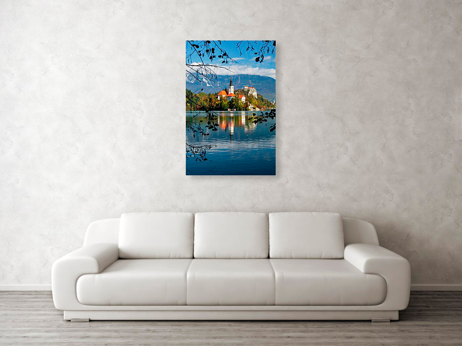 Lake Bled on an autumn day - metal photo print example