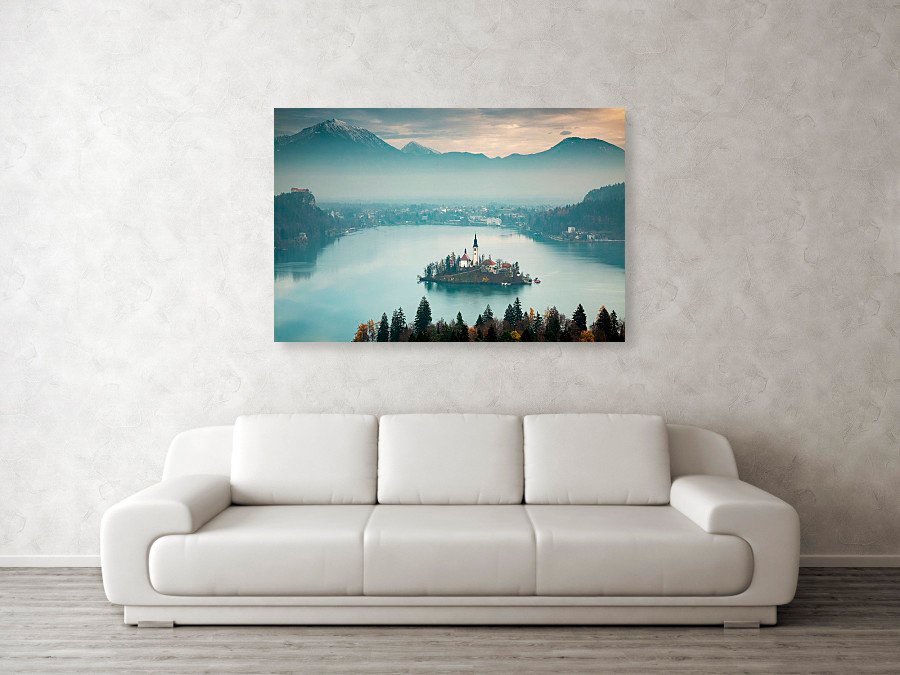 Lake Bled at sunrise from Ojstrica Hill - box canvas photo print example.