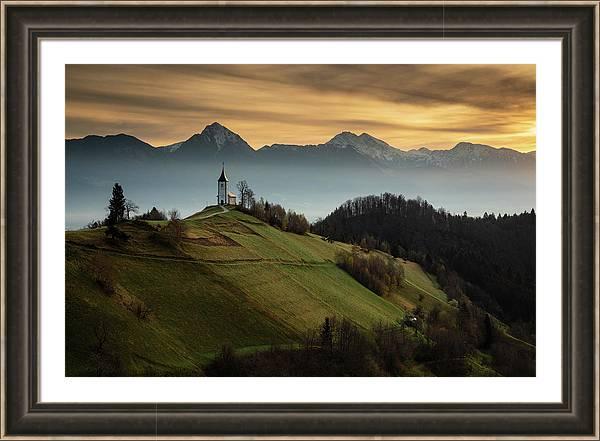 Framed print of Jamnik church in Slovenia