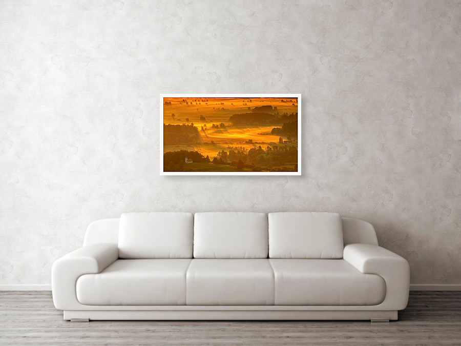 Ljubljana Marshes at sunrise, fine art photography example hanging on wall