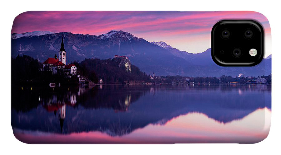 Sunrise at Lake Bled on on iphone cases
