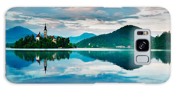 Lake Bled sunset on galaxy phone cases