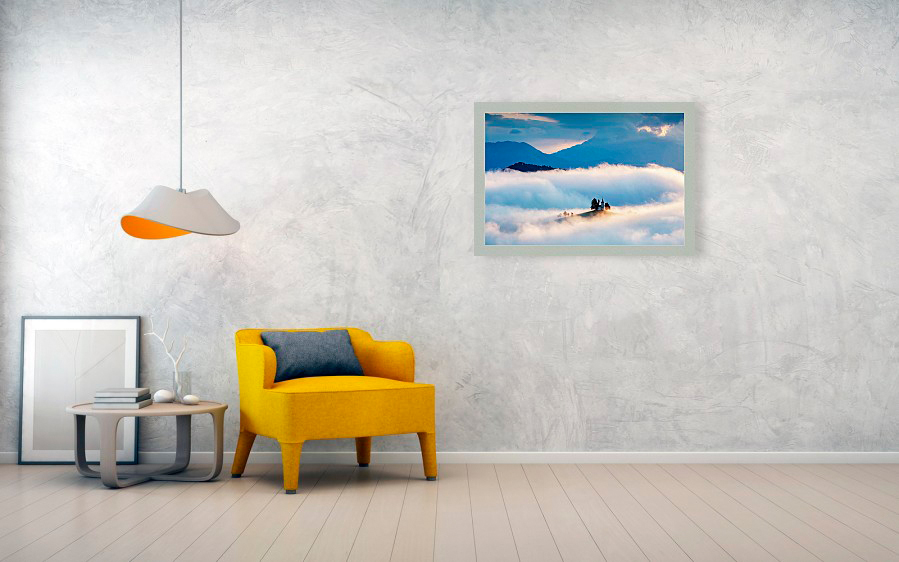 Saint Thomas church in the clouds, fine art photography example hanging on wall