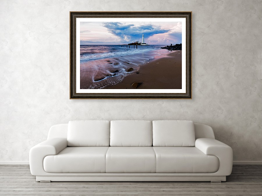 Saint Mary's Lighthouse - framed print example on wall