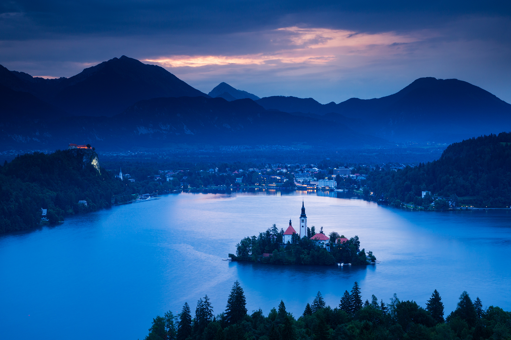 Lake Bled from Ojstrica viewpoint at dawn, Slovenia.