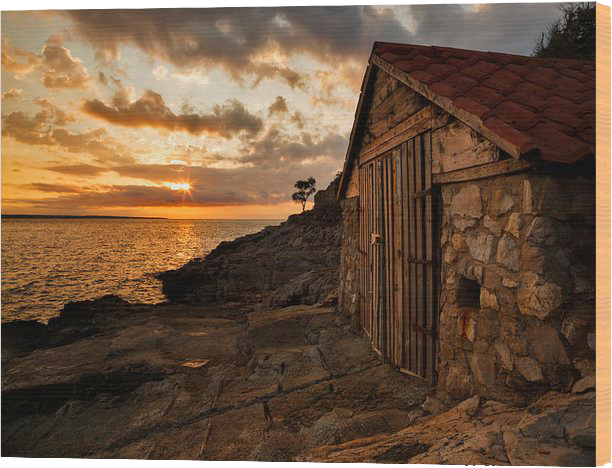 sunrise at Losinj Island in Croatia - wood print example