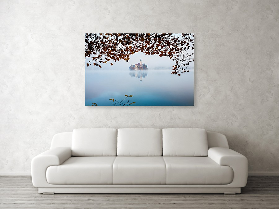 Lake Bled on a misty morning - acrylic photo print example