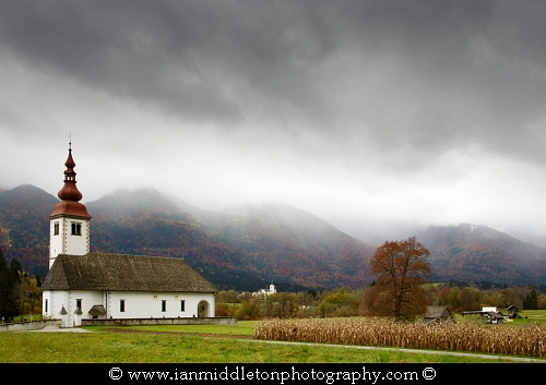 Church just outside Bohinjska Bistrica, Bohinj, Triglav National Park, Slovenia.
