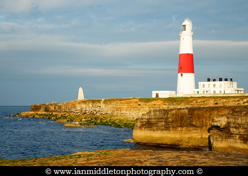 Lighthouse at Portland Bill in the early morning sun, near Weymouth, Jurassic Coast, Dorset, England.