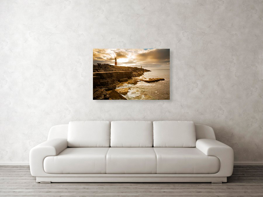 Portland Bill lighthouse at sunrise canvas print example in situ on wall
