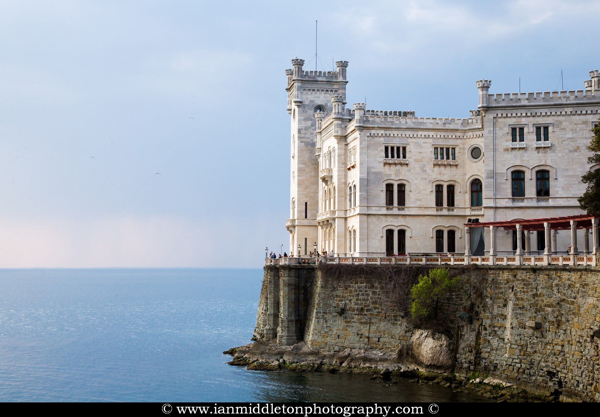Castello di Miramare (Miramare castle) was built in 1855-60 for Archduke Maximilian of Austria, later briefly emperor of Mexico. It is now owned by the State and houses a historical museum. From the terrace and the park (bronze statue of Maximilian) there are magnificent views of the sea, which is protected as a nature reserve, the Parco Marino di Miramare.