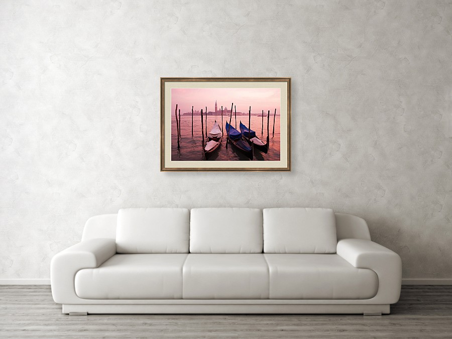 Framed print example of sunset at Venice, Italy.