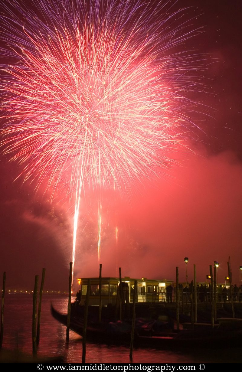 New year eve Fireworks over Grand Canal, Venice