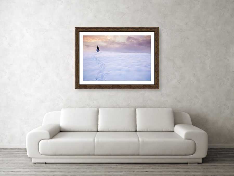 Framed print example of winter sunset photo