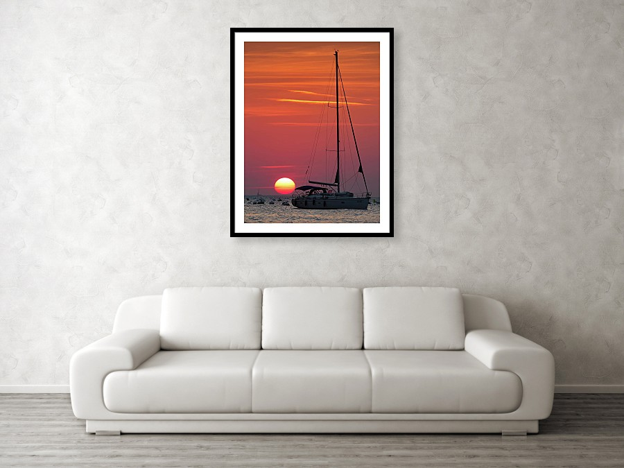 Framed print example of sunset at Strunjan in Slovenia.