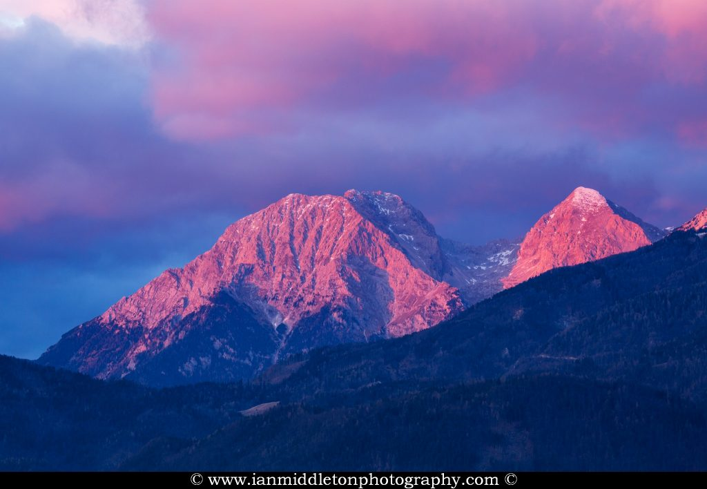 Kamnik Alps at sunset, Slovenia.