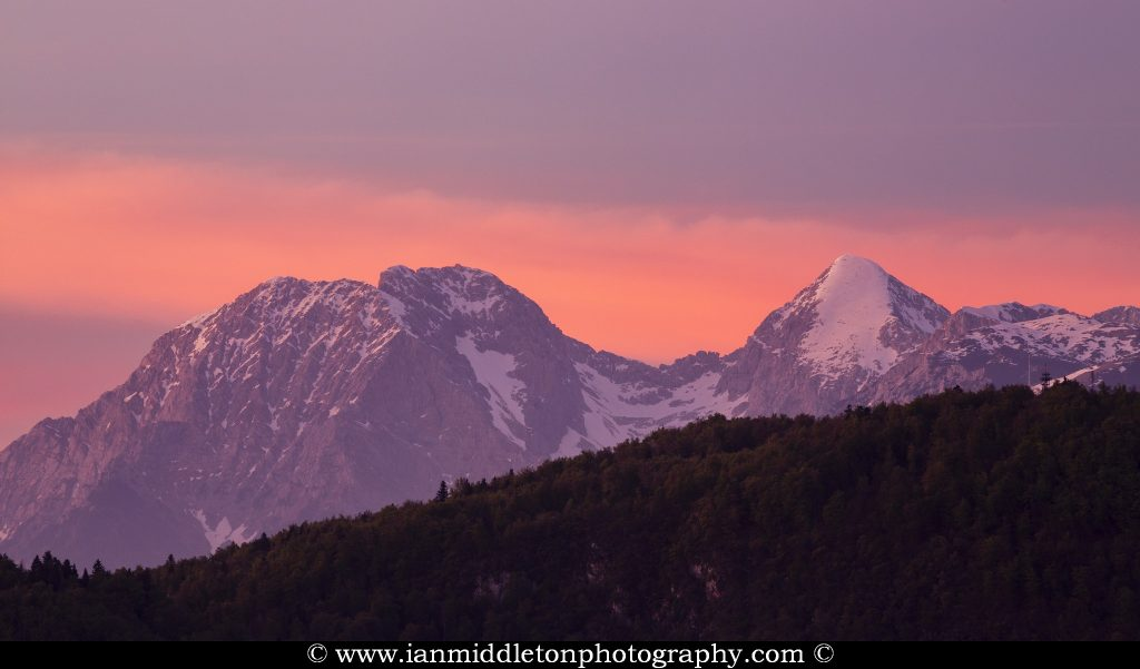 Mt Grintovec, the highest peak in the Kamnik Alps at sunset, Slovenia.