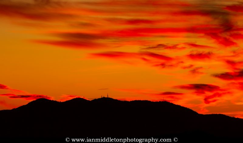 View across to Krim mountain at sunset, seen from a hill in prezganje in the Jance hills to the east of Ljubljana, Slovenia