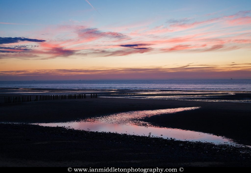 Sangatte Beach at sunset, Nord Pas de Calais, France.