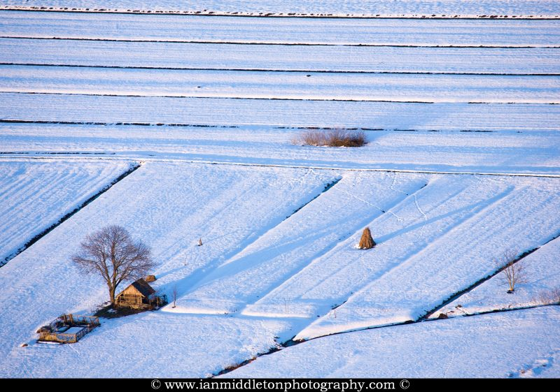 Winter view across the fields of the Ljubljana Marshland (Ljubljansko Barje), a large area of wetland 160 square kilometres in size.