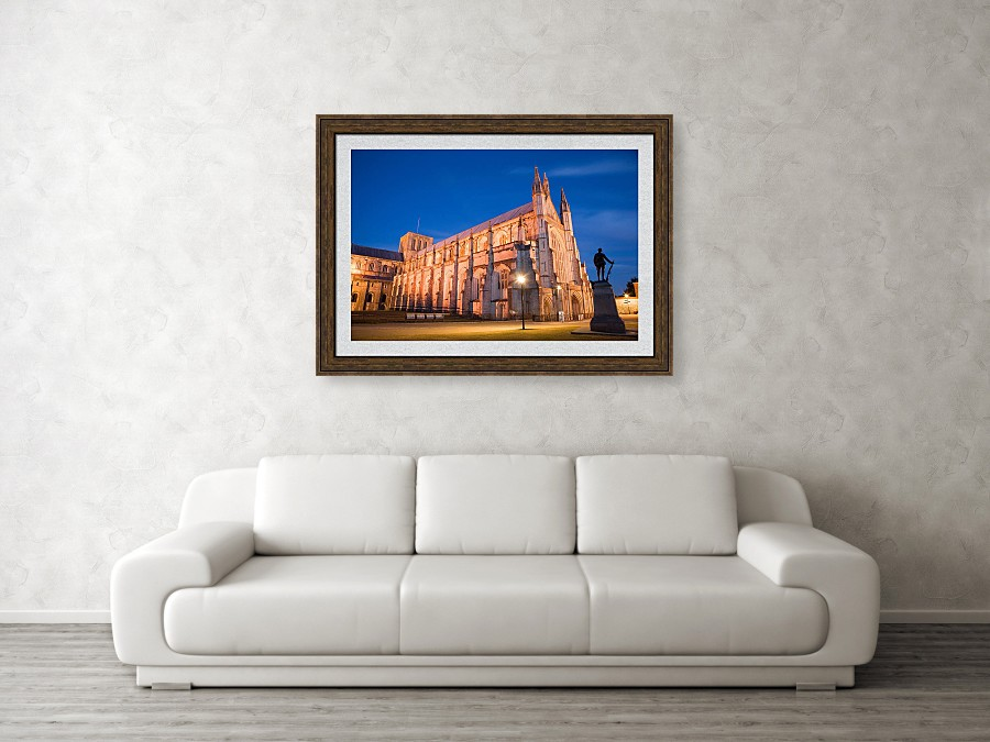 Framed print example of the Winchester Cathedral photo.
