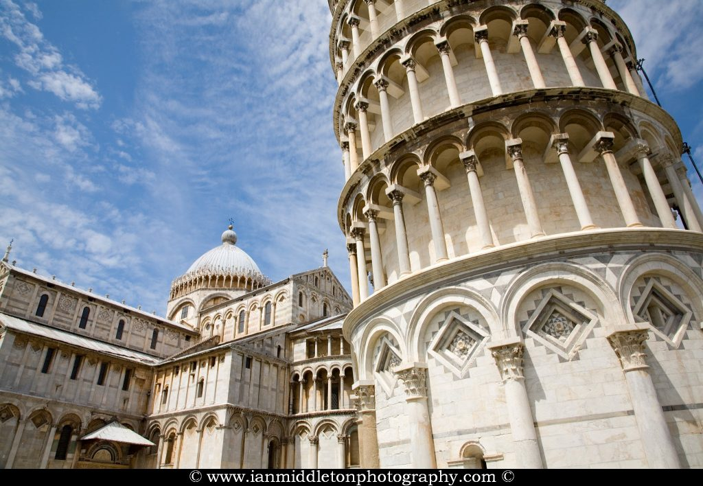 Leaning tower and Duomo in Campo di Miracoli (field of Miracles), Pisa, Tuscany, Italy