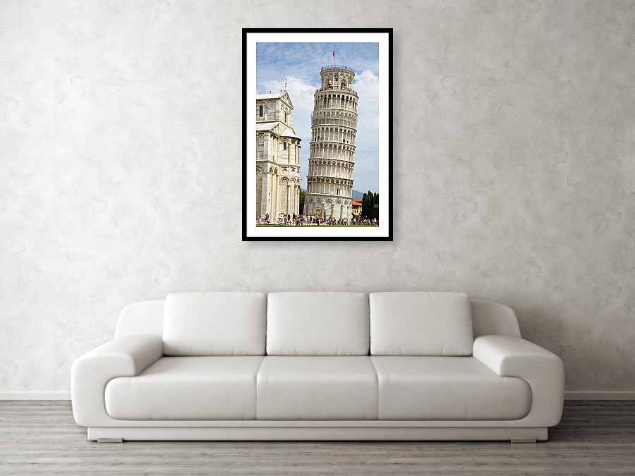 Framed print example of leaning tower of pisa in Italy.