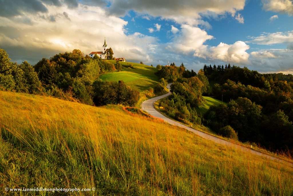 The church of Saint Margaret (Sveta Marjeta) at sunset in Prezganje in the hills to the east of Ljubljana, Slovenia.