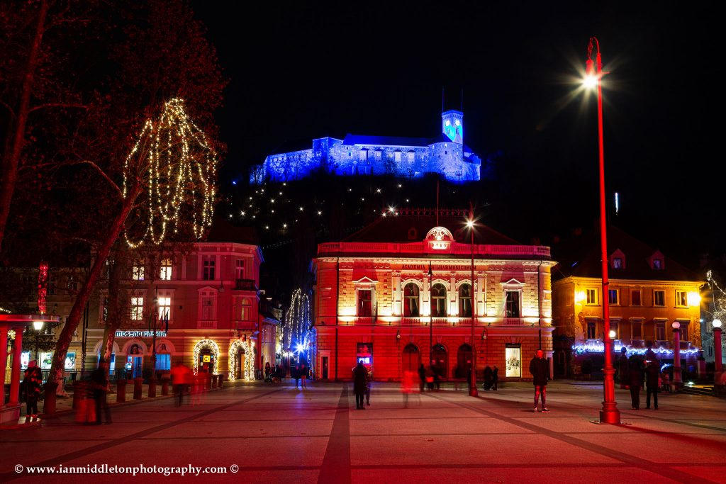 Christmas in Kongresni Square with view of the castle in Ljubljana, Slovenia.