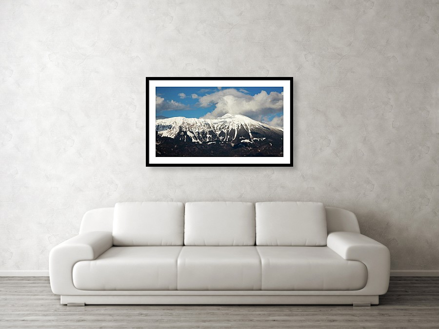 Framed print example of view across to Mt Stol from Lake Bled.