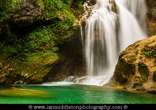 The 16 Metre high Sum Waterfall in Vintgar Gorge, near Bled, Slovenia.