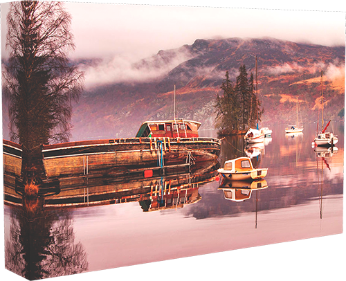 Misty morning at Loch Ness box canvas photo print example.
