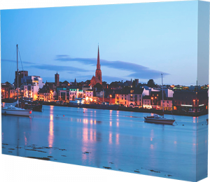 Canvas print example of Wexford Harbour in Ireland at dusk